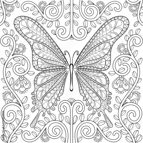 quot Adult coloring book with butterfly