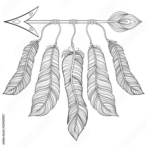 Boho Chic Ethnic Arrow With Feathers Freedom Concept Hand Draw