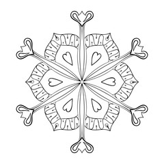 Vector paper cutout snow flake in zentangle style, doodle mandal