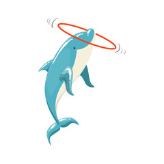 Blue Bottlenose Dolphin Holding Hula-Hoop For Entertainment Show, Realistic Aquatic Mammal Vector Drawing