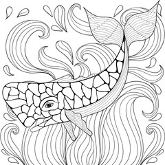 Zentangle Whale in waves. Freehand sketch for adult antistress c