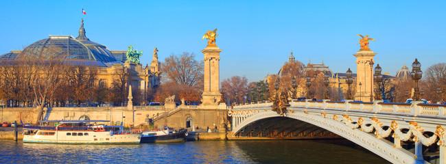 Paris, la seine près du grand palais et du pont Alexandre 3