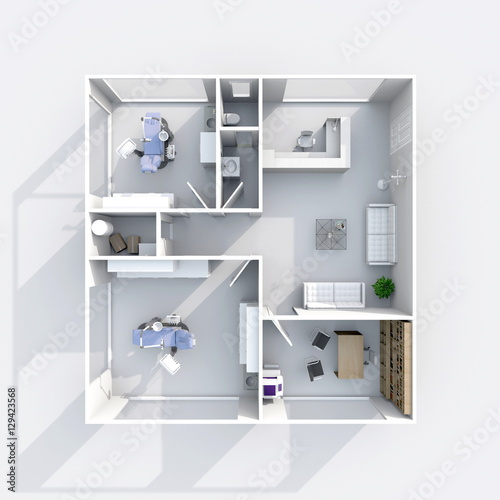 3d interior rendering plan view of furnished dental clinic\