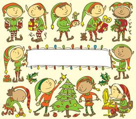 Christmas elves background