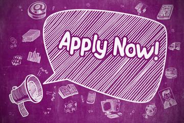Apply Now - Doodle Illustration on Purple Chalkboard.