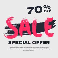 Vector sale poster. Grunge discount banner, eps10