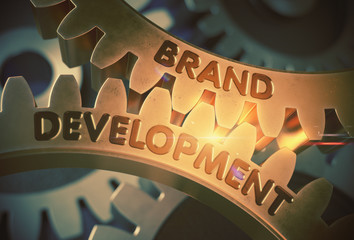 Brand Development Concept. Golden Gears. 3D Illustration.