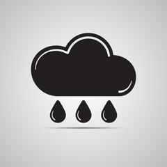 Векторная иллюстрация иконка простой символ плоский для веб Round icon Cloud Облако облачко капли дождя