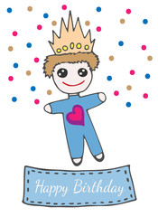Happy birthday greeting card with llittle prince toy on crone