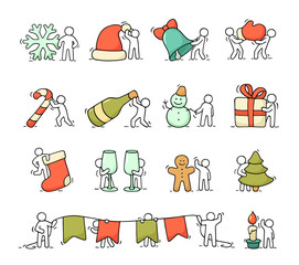 Cartoon christmas icons set with working little people
