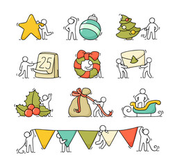 christmas icons set with little people