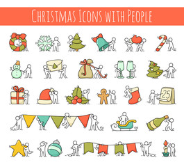 christmas icons set of working little people