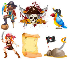 Pirate set with pirates and other symbol