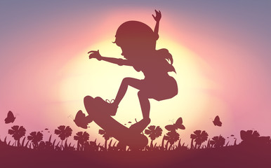 Silhouette girl skateboarding in garden
