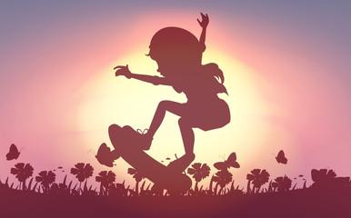 Silhouette girl skateboarding in garden