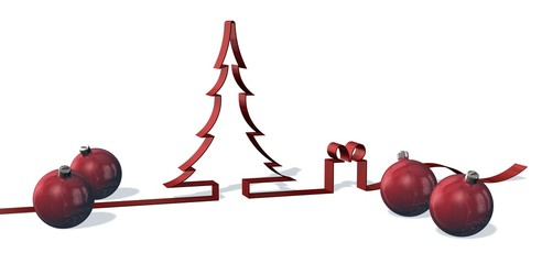 3d bow Christmas tree with balls and gift isolated on white