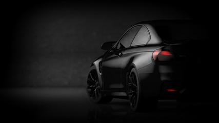 Black matte sports car (with grunge overlay) - 3d illustration