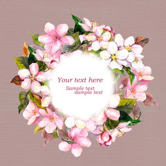 Floral circle wreath with pink flowers - apple, cherry blossom for greeting card. Aquarelle