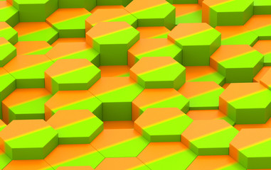 Colorful Hexagon Background Texture. 3d render
