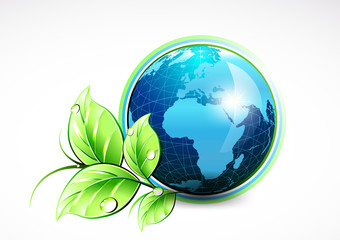 Natural blue World with green leaves and water drops. Vector illustration