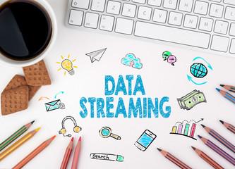 Data Streaming, Business concept. White office desk
