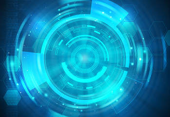 Blue technology background and abstract digital tech circle fractal radial.