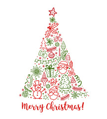 Hand drawn Christmas greeting card with Santa Claus and Christmas tree