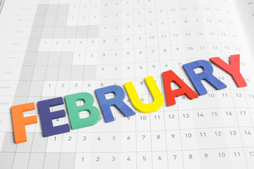 Colorful February  month on calendar paper