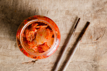 Kimchi cabbage (Korean food) in a jar ready to eating