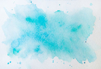 Abstract blue watercolor on white background.This is watercolor