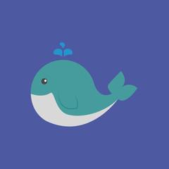 whale icon. flat design