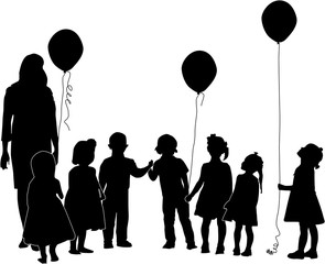 seven children and woman silhouettes isolated on white