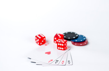 aces chips cubes on a white background