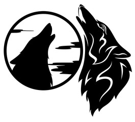 howling wolf tribal design - black and white vector illustration