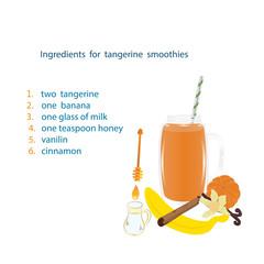 tangerine smoothies recipe ingredients banana peeled tangerine vanilla glass honey isolated white background vector