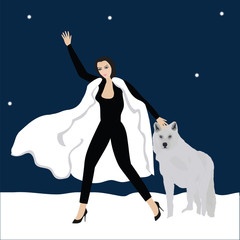 white wolf woman star snow dark blue background abstract art creative modern vector illustration