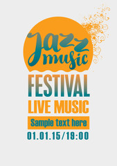 poster for the jazz festival with a sun and sea