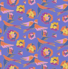 Floral seamless background pattern with flowers and birds. Colorful vector illustration hand drawn. Spring - summer season.