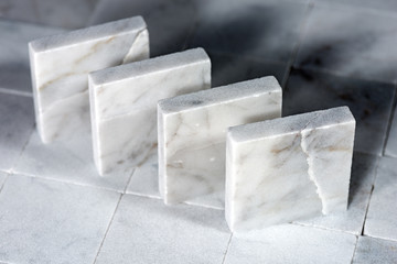Square Tiles of White Carrara Marble