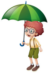 Little boy and green umbrella