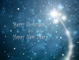 Beautiful Happy New Year and Merry Christmas Holiday greeting card illustration background with fireworks, star shapes and snowflakes.