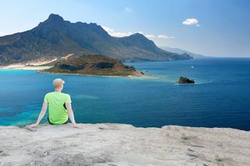 Runner Man Having a Break with Beautiful View Over Mediterranean Coastline