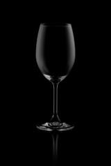 empty wine glass isolated on dark background