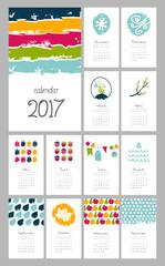 Calendar 2017 year. Week starts from Sunday