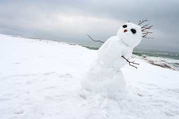 crazy, melting snowman on a winter beach