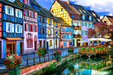 amazing beautiful places of France - colorful Colmar town in Alsace