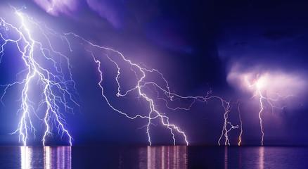 Lightning storm over Black sea near Feodosia