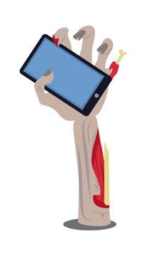 Phone in Broken Zombie Hand Vector Illustration
