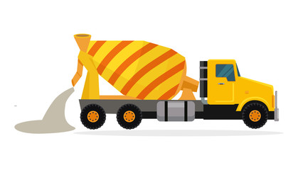 Concrete Mixing Truck Vector in Flat Design