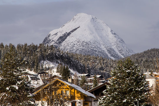 A small town, village, in the mountains. Hut. Winter, the Alps, Tyrol